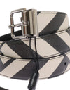 Black White Striped Leather Belt