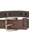 Brown Leather Silver Buckle Studded Belt