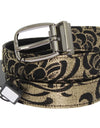 Black Leather Gold Brocade Belt