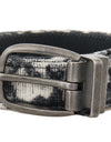 Black White Pattern Cotton Leather Belt