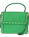 Michael Kors Green DILLON Studded Leather Messenger Bag