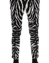 White Black Zebra Cotton Stretch Slim Pants