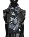 Black Gray Cashmere Leaves Print Scarf