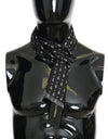 Black Silk White Cross Print Scarf
