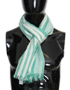 Green White Silk Striped Scarf