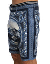 Blue White Taormina Print Shorts
