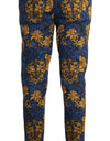 Blue Yellow Baroque Print Cotton Pants