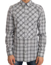 White Gray Check Cotton GOLD Slim Shirt