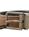 Brown Leather Gold Brushed Buckle Belt