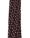 Brown Silk Polka Dot Print Slim