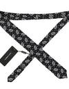 Black Silk White Floral Print Tie