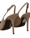 DOLCE & GABBANA Beige Patent Leather Slingbacks