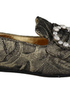 Gold Black Jacquard Crystal Loafers