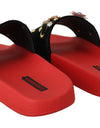 Red Velvet Crystal Beachwear Slides