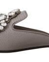Gray Leather Iguana Crystal Mules