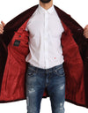Long Red Bordeaux Velvet Jacket Coat