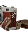 Camera Case Brown Caiman Crocodile Silver Wood Purse