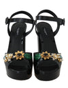 Black Leather Crystal Pearl Sandal