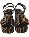 Brown Leopard Brocade Crystal Sandal