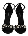 Black Silk Lace Crystal Heels Sandal