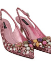 Pink Leather Sequin Crystal Slingback Shoes