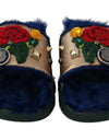 Gold Blue Leather Xiangao Fur Slides