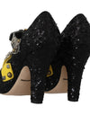 Black Sequined Crystal Studs Heels Shoes
