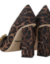 Brown Brocade Leopard Crystal Pumps