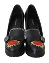 Black Leather Heel Platform Moccasins