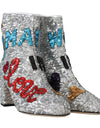 Silver Sequin Love Heart Ankle Boots