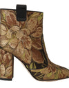 Gold Brown Jacquard Floral Boots