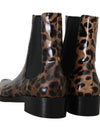 Brown Leather Leopard Chelsea Boots