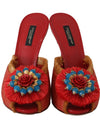 Red Straw Open Toes Crystal Sandals