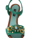 Green Leather Crystal Strap Sandals