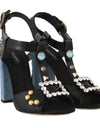 Black Leather Crystal Sandals Tassel
