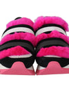 Black Leather Pink Fur Shoes Sneakers