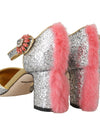 Silver Leather Fur Crystal Pumps