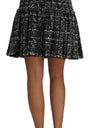 A-line Pleated Pattern Checkered Wool Skirt
