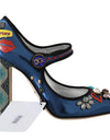 Blue Leather Crystal Mary Jane Pumps