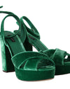 Green Velvet Ankle Strap Sandals