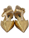 Gold Leather Crystal Ballerina T-strap