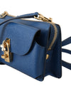 Blue Leather Cross Body Mini Shoulder Bag