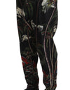 Black Linen Volcano Print Trousers Pants