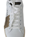 White Leather Gold Casual Sneakers