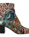 Gold Jacquard Patterned Ankle Boots