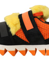 Orange Leather Yellow Fur Sneakers