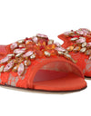 Orange Lace Crystal Flip Flops Flats