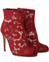 Red Leather Cotton Lace Ankle Booties