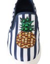 Blue White Leather Pineapple Loafers