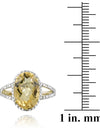 Sterling Silver 4ct Citrine & Diamond Accent Oval Ring
